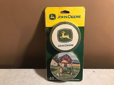 John Deere Coasters Set 40 Coaster Absorbent Beverage Licensed Collectable NRFP