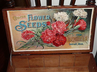 Antique Wood Advertising Box Choice Flower Seed D.m. Ferry Detroit Carnations