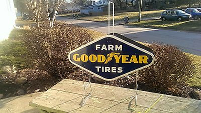 Vintage RARE Goodyear Farm Tires Advertising Tire Display Rack w/ 2 Signs