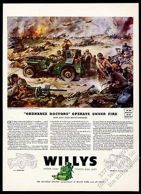 1943 Willys Jeep US Army soldiers WW2 battle James Sessions art vintage print ad