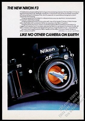 1980 Nikon F3 camera and Space Shuttle pic vintage print ad