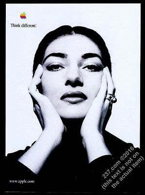 1998 Maria Callas photo Apple Computer Think Different vintage print ad