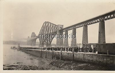 WW II ERA USED RPPC POSTCARD US NAVY SAILORS LANDING at FIRTH OF FORTH SCOTLAND