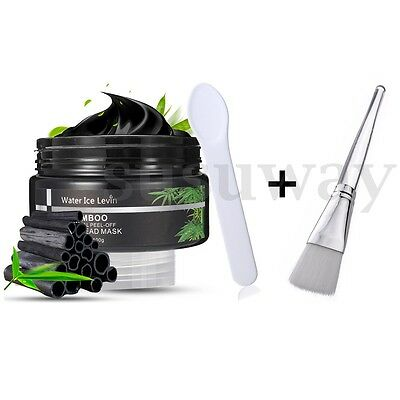 Black Mud Bamboo Charcoal Face Mask Blackhead Remover Nose Clean Mask+Brush