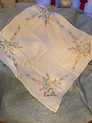 Vintage Linen Tablecloth Hand Embroided With Pretty Flowers