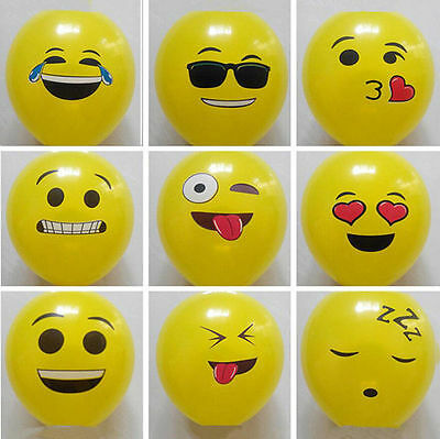 50Pcs EMOJI LATEX BALLOONS YELLOW PARTY SMILEY EMOJI FACE EMOTION BALLOON NEW