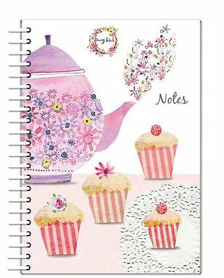 A5 Notebook Daisy Patch Afternoon Tea Teapot & Cupcake Hard Back Wiro Bound