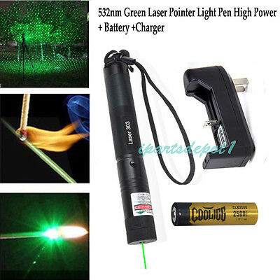 High Power 10 Miles 532nm Green Laser Pointer Pen Visible Beam + Battery&Charger
