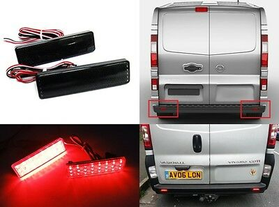 2x Vauxhall Opel Vivaro Movano Black Smoked Bumper Reflector LED Tail Stop Light