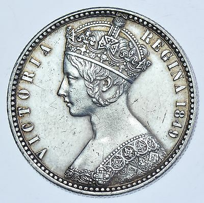 Rare 1849 `godless` Gothic Florin, British Silver Coin From Victoria Ef