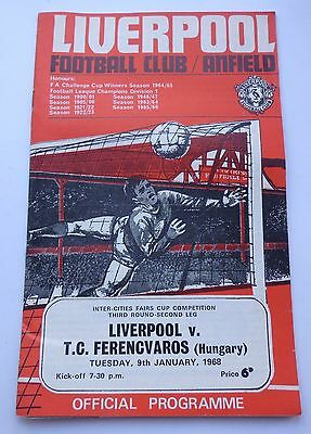 LIVERPOOL v. FERENCVAROS HUNGARY INTER CITIES FAIRS CUP 1968  ANFIELD