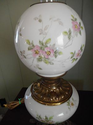 """Antique-Victorian Gone With The Wind Oil Lamp -Handpainted Flowers-18"""" Tall"""