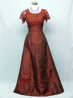 Cherlone Red Lace Ballgown Wedding/Evening Bridesmaid Formal Full Length Dress 8