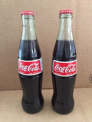 Pair of Coca Cola Vintage Glass Coke Bottle 355ml 2002 Made in Mexico