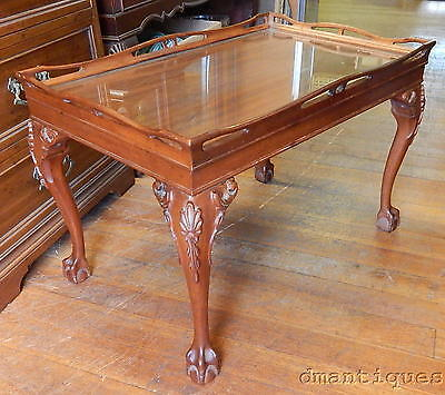 Antique Mahogany Tea Coffee Table Carved Floral Ball & Claw Foot Glass Top Tray