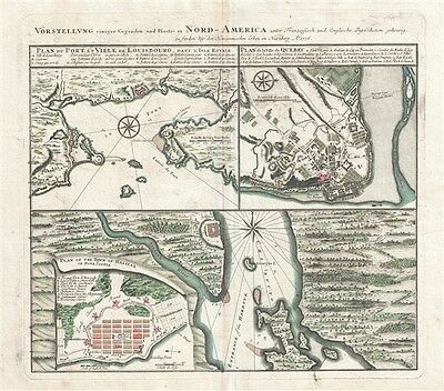 1757 Homann Heirs Map of Halifax, Quebec City, and Louisbourg, Canada