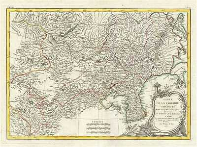 1771 Bonne Map of China, Mongolia, Manchuria and Korea (Corea)