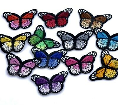 🥇MAXI LOT 10 PAPILLONS BUTTEFLY PATCH BRODE THERMOCOLLANT COUTURE 34x30mm 🥇