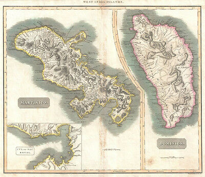 1814 Thomson Map of Martinique and Dominica ( West Indies )