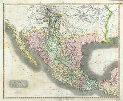 1814 Thomson Map of Mexico and Texas