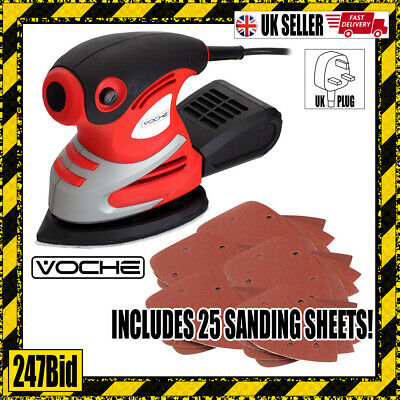 Voche® 200W Electric Palm Detail Sander 25 Sanding Sheets + Dust Collection Box
