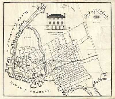 1829 Hamel Plan or Map of the City of Quebec, Canada