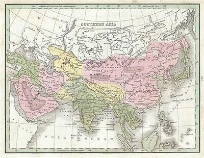 1835 Bradford Map of Southern Asia (Arabia, Persia, China, India, Japan, Korea,