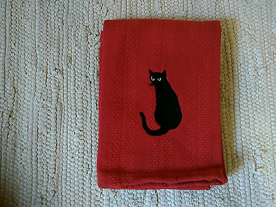 Black Cat Embroidered Red Kitchen Towel. BLACK CATS ARE BEAUTIFUL