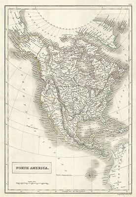 1844 Black Map of North America and the United States