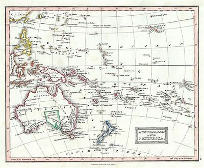 1845 Ewing Map of Australia and Polynesia