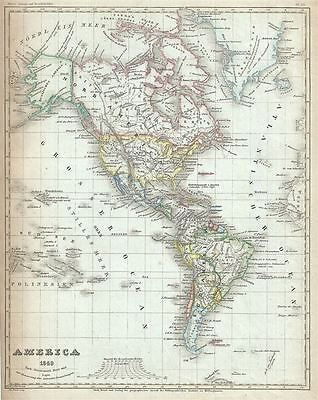 1849 Meyer Map of North America and South America
