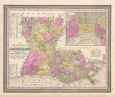 1849 Mitchell Map of Louisiana