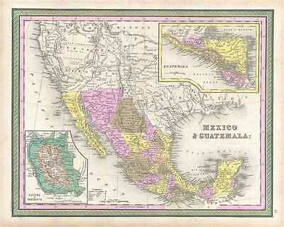 1849 Mitchell Map of Mexico and Guatemala