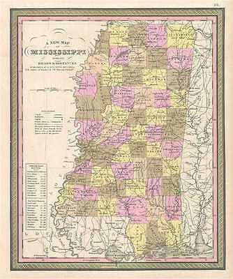 1849 Mitchell Map of Mississippi