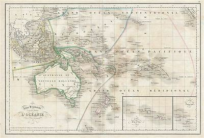 1850 Delamarche Map of Australia and Polynesia