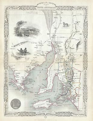 1851 Tallis and Rapkin Map of South Australia, Australia
