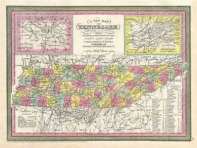 1854 Mitchell Map of Tennessee