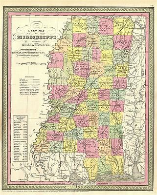 1854 Mitchell New Map of Mississippi