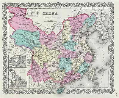 1856 Colton Map of China, Taiwan, and Korea