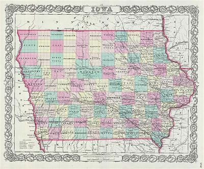 1856 Colton Map of Iowa