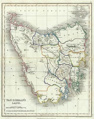 1860 Dower Map of Van Diemen's Land or Tasmania