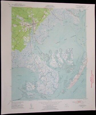 Tuckerton New Jersey Little Egg Harbor Great Bay vintage 1954 USGS Topo chart