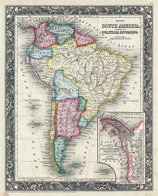 1860 Mitchell Map of South America