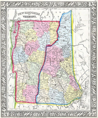 1862 Mitchell's Map of Vermont and New Hampshire