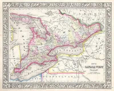1864 Mitchell Map of Ontario, Canada