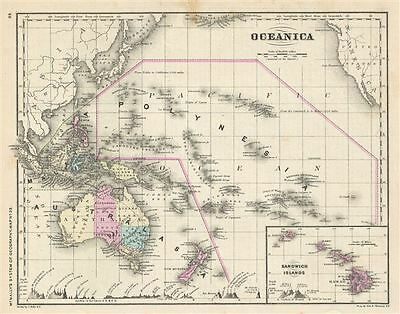 1866 Rand McNally Map of Australia and Polynesia
