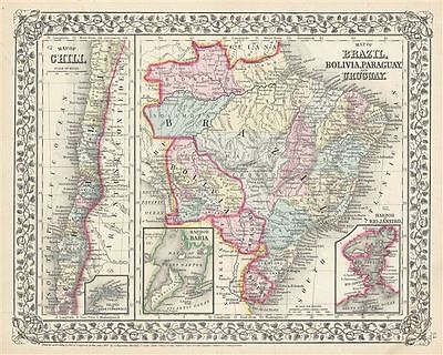 1867 Mitchell Map of Chile, Brazil, Bolivia, Paraguay and Uruguay
