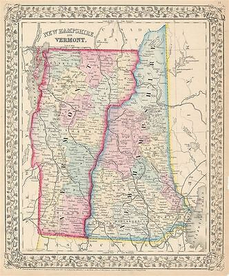 1867 Mitchell Map of Vermont and New Hampshire