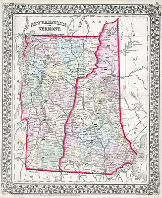 1874 Mitchell Map of New Hampshire and Vermont