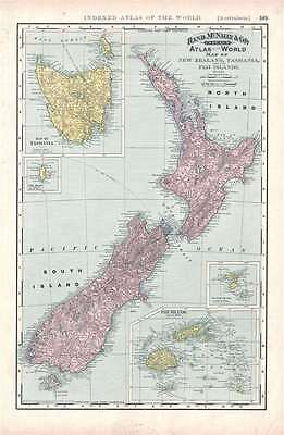 1892 Rand McNally Map of New Zealand, Tasmania, and Fiji